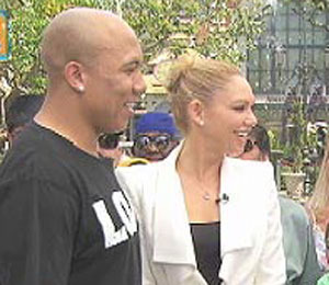 'Extra' Raw! Hines Ward and Kym Johnson at The Grove!