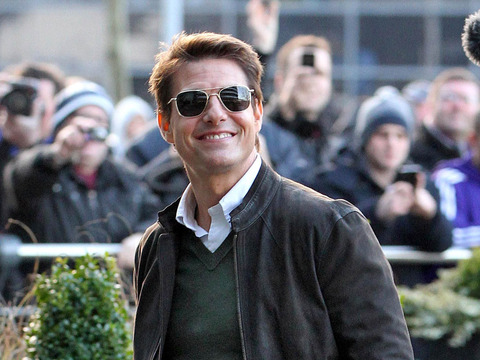Tom Cruise was snapped leaving the Manchester Derby in England on Sunday.