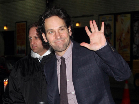 "Paul Rudd stopped by the ""Late Show with David Letterman"" in NYC."