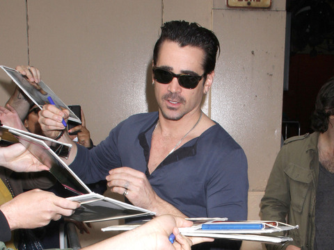 "Colin Farrell signed autographs for fans after appearing on ""Live with Kelly…"