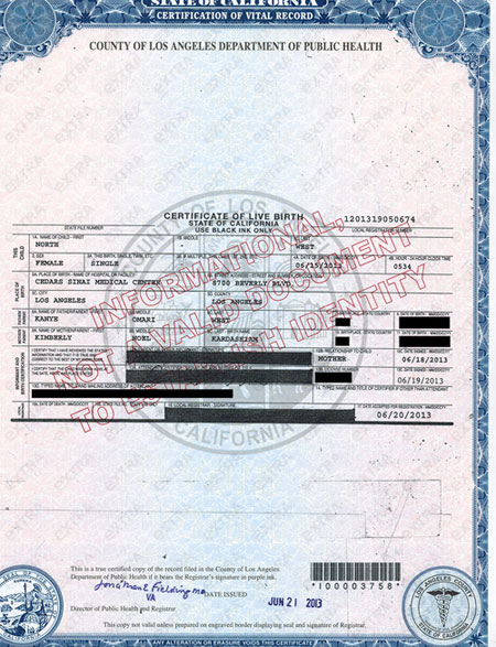 Kim and Kanye\'s Baby North West: See the Birth Certificate ...