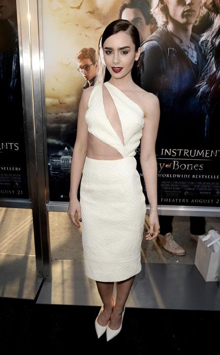 Fashion Spotlight Lily Collins Sexy Edgy Mortal Look