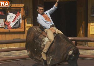 Bruno Tonioli Rides the Bull at Universal Studios Hollywood