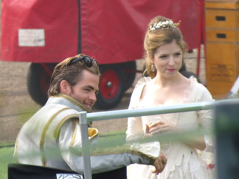"Chris Pine and Anna Kendrick filmed ""Into the Woods"" at an English castle on…"