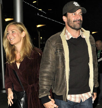 Jennifer Westfeldt and Jon Hamm were spotted leaving the Arclight movie theater…