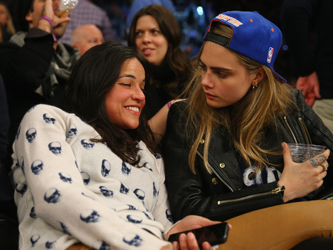 Michelle Rodriguez and Cara Delevingne Share Sloppy Kisses and High Kicks