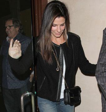 Sandra Bullock enjoyed an Italian dinner at Adoteca restaurant in Brentwood on…