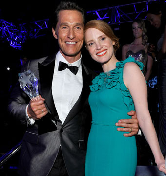 Matthew McConaughey and Jessica Chastain celebrated backstage at the Critics'…