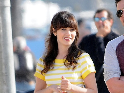 "Zooey Deschanel was spotted on the set of her hit TV show ""New Girl."""