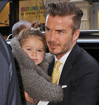 David Beckham, daughter Harper, and the family stopped for lunch at Balthazar…