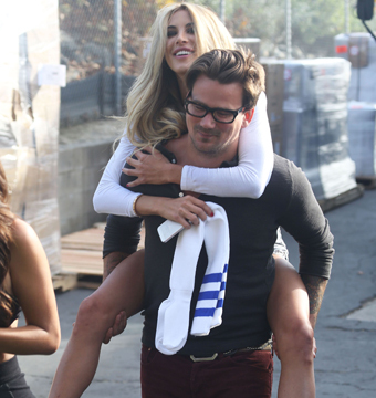 Rod Stewart's son Sean gave model Brittany Cole a piggyback ride on the set of…