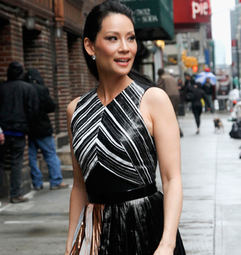 "Lucy Liu was spotted outside the ""Late Show With David Letterman"" in NYC."