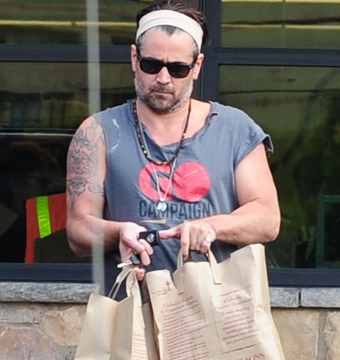 A beefy Colin Farrell went grocery shopping at Gelson's market in L.A.