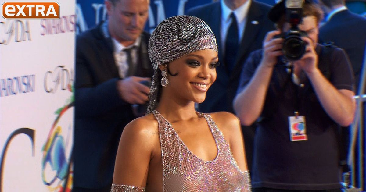 Rihanna Rocks Shockingly Sheer Swarovski Crystal Dress At