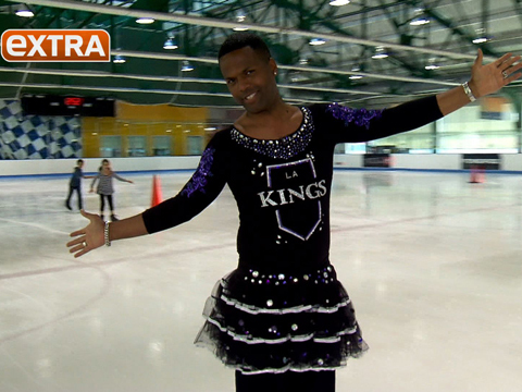 Pic! AJ Calloway Wears Bedazzled L.A. Kings Figure Skating Costume