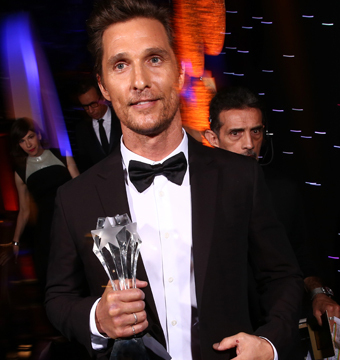 """""""True Detective"""" star Matthew McConaughey was named Best Actor in a Drama at…"""