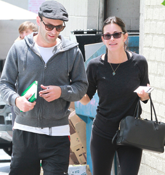 Courteney Cox and BF Johnny McDaid stopped by La Scala in Beverly Hills.
