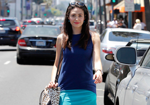 Emmy Rossum was a vision in blue and aqua in L.A.