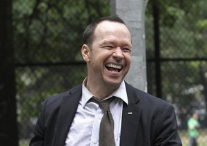 "Donnie Wahlberg filmed a scene for ""Blue Bloods"" in NYC."