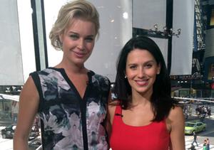 """""""Extra's"""" Hilaria Baldwin caught up with GSN's """"Skin Wars"""" host Rebecca Romijn…"""