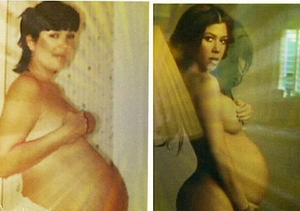 Kourtney Kardashian Shares #TBT Pregnancy Pics of Herself and Kris Jenner