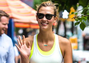 Karlie Kloss waved to photographers while on a stroll in NYC.