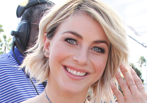 "Julianne Hough stopped by Universal Studios for an interview with ""Extra."""