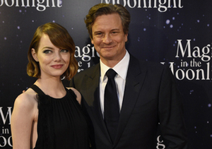 "Emma Stone and Colin Firth posed during a photocall for ""Magic in the…"