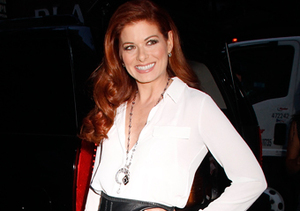 Debra Messing struck a pose in a body-hugging black leather skirt and white…