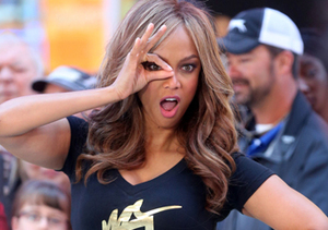 "Tyra Banks looked fierce on the set of ""Good Morning America."""