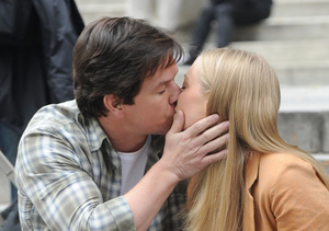 "Mark Wahlberg gave Amanda Seyfried a smooch while filming ""Ted 2"" in NYC."