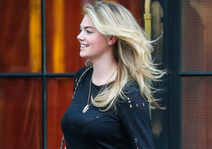 Kate Upton chatted with a friend outside the Bowery Hotel in NYC.