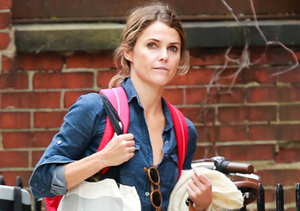 Keri Russell had her hands full while running errands in NYC.