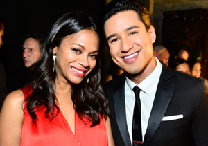 Zoe Saldana and host Mario Lopez posed the 2014 NCLR ALMA Awards in Pasadena.