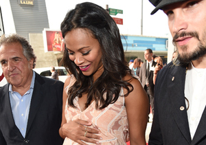 "Mom-to-be Zoe Saldana and Marco Perego attended ""The Book of Life"" premiere in…"