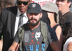"Shia LaBeouf made his way to the ""Jimmy Kimmel Live!"" studio in Hollywood."