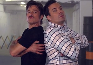 Breakdance Battle! Brad Pitt and Jimmy Fallon Hit the Cardboard
