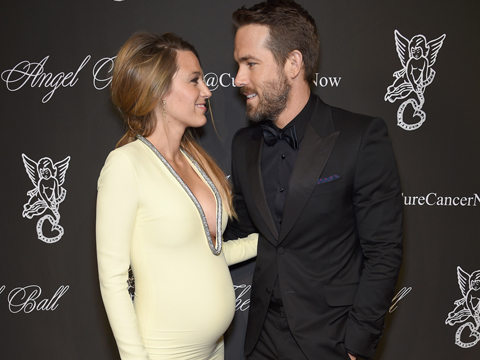 See Blake Lively's Stunning, Skintight Maternity Gown with Plunging Neckline