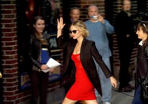 Watch! Jennifer Lawrence Looks Ravishing in Red as She Arrives for 'Letterman'