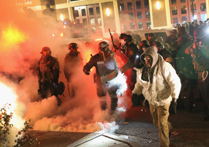 Video: Reporters Hit with Tear Gas, Rocks During Ferguson Riots