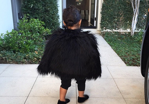 Cute Overload! Kim K Posts Pics of North West In Fuzzy Jacket and Cat Shoes