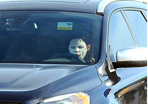 Extreme Beauty! A-Lister Drives Around Town in Facial Mask