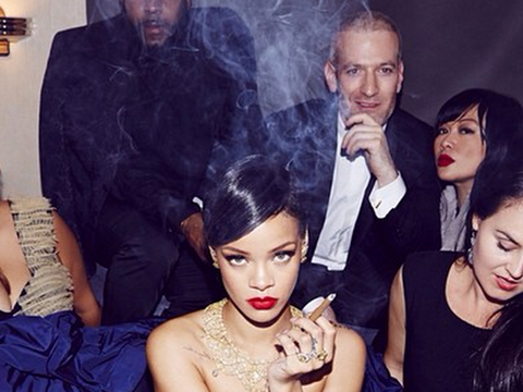 Pic! Of Course Rihanna Was Smoking a Cigar Topless