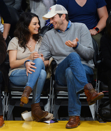 Pics! Ashton and Mila Share Hot Kiss on First Public Outing Since Baby