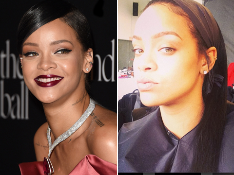 See Rihanna's Makeup-Free Selfies!