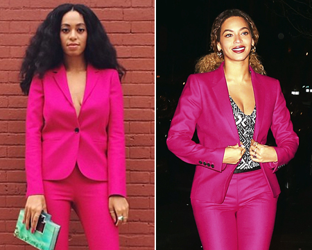 Who Wore It Best? Solange and Beyoncé Wear the Same Fuchsia Suit