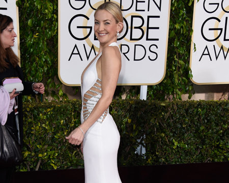 Kate Hudson Heats Up Red Carpet in Winter White Gown