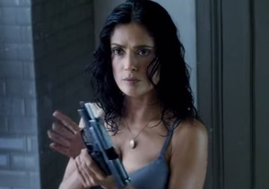 Salma Hayek Strips Down to Bra and Panties to Shoot Down Assassins