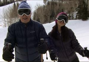 Hilaria & Alec Baldwin Hang Out at Sundance, Go Fake Skiing