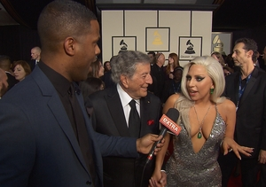 Lady Gaga Gets Flustered Over Engagement Rumors on Grammys Red Carpet
